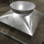 Galvanized roof cap transition square to round