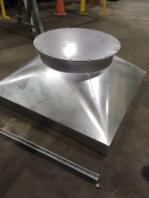 Galvanized roof cap transition square to round